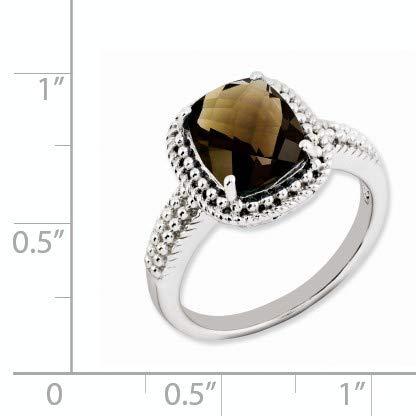 Cushion Cut Smoky Quartz Milgrain Sterling Silver Ring