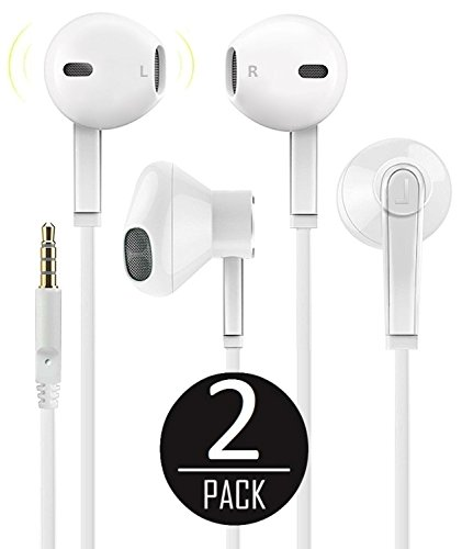 2 Pack Premium Earphones Earbuds Headphones [Ergonomic Comfort - Headphones With Mic And Remote