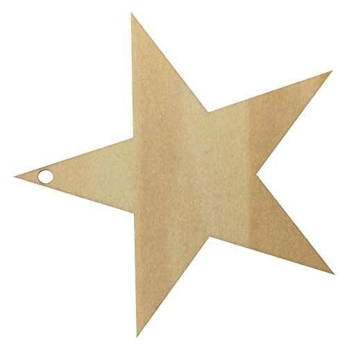 AIHOME™ 25 Pcs DIY Five-pointed Star Shape Wooden Plaques Plain Wood Craft Tags with Hole for Toys Pets Art Decoration Blank (Size C:8 x 8cm)