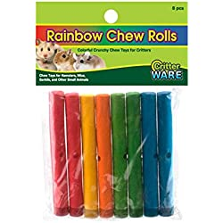Ware Rainbow Chew Rolls, 8 Pieces, Fruit Scented Wood Chew Toys for Critters