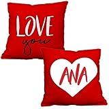 1WEN! Love You Cojines personalizados Juego de 2 piezas Rojos