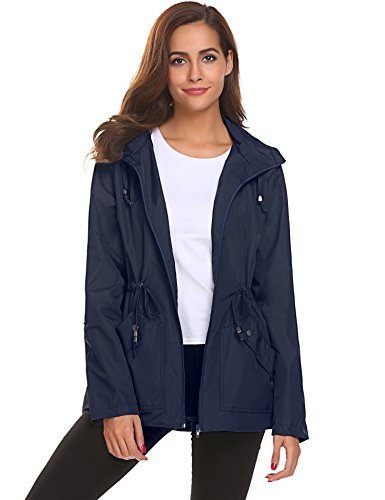 Active Jackets for Women Water Repellent Softshell Trench Coat with Hoodie Sport,Blue Waterproof Rain Jacket,Small