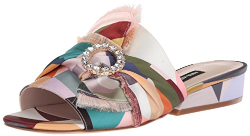 Nine West Women's LAFAY Slide Sandal, Natural Multi Satin, 7 Medium US - Nine West Satin Heels