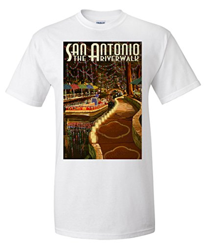 San Antonio, Texas - The Riverwalk (White T-Shirt - Shops Antonio Riverwalk San