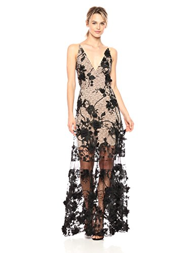 - Dress the Population Women's Embellished Plunging Gown Sleeveless Floral Long Dress, Black/Nude Gigi, XL