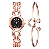 Gibobby Clearance Sale! Womens Watch Buckle Link Strap Simple Point Drill Heart Shaped Knot Bracelet Gift for Women