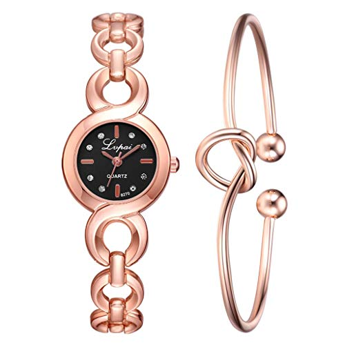 Yemenger Women's Popular Watches Buckle Link Strap Simple Point Drill Dial Watch Heart Shaped Knot Bracelet ()