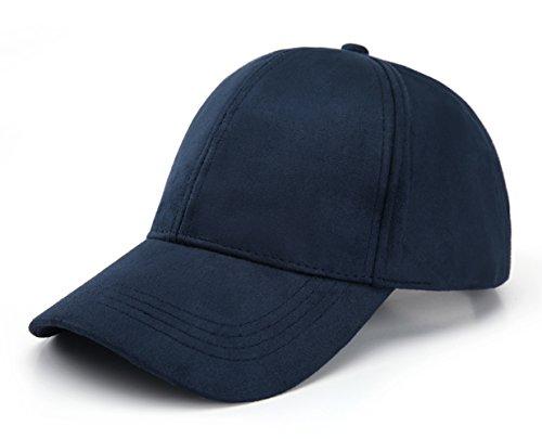 JOOWEN 6 Panel Faux Suede Leather Classic Adjustable Baseball Cap (Blue)