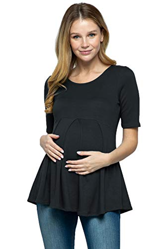 Women's Maternity top Peplum Blouse with Front Pleat for Pregnancy