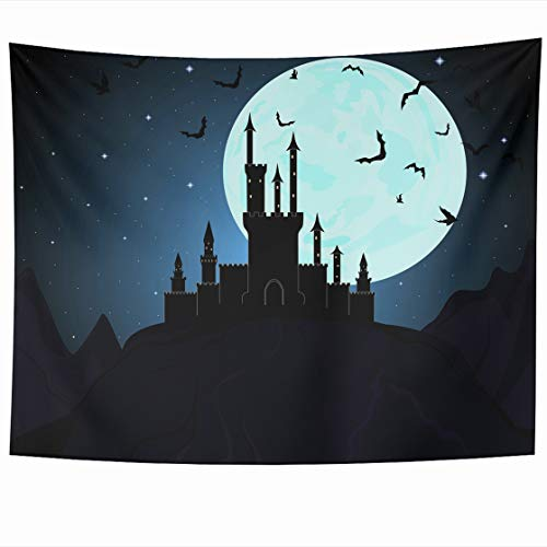 DIYCow Tapestry Wall Decor 60 x 50 Inches Star Halloween Draculas Dungeon Castle Design Mystical Tapestries Wall Hanging Home Decor for Home Office Bedroom]()