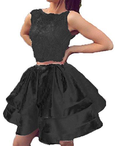 Bessdress Robes Deux Pièces Robe De Soirée De Dentelle Applique Robes De Mariée Deux Couches De Soirée Bal Cocktail Bd483 Noir