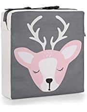 BTSKY Chair Increasing Cushion Kid - Dismountable Baby Toddler Booster Seat Dining Chair Cushion Adjustable Highchair Cushion Washable Thick Chair Seat Pads Buckle Straps,Grey+Pink Deer