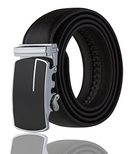 Mens Leather Buckle Dress Belt (Men's Imperial Ratchet Leather Dress Belt (silver buckle w/ black)