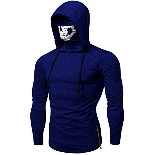 Mens Mask Hooded Sweatshirt Skull Pattern Long Sleeve Training Pullover Costum (M, Dark -