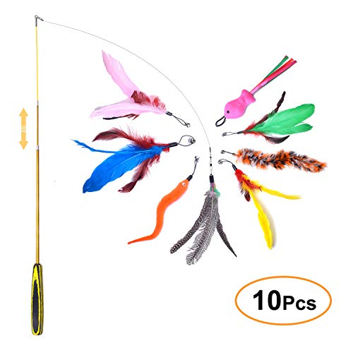FYNIGO Cat Feather Toys,Interactive Retractable Cat...
