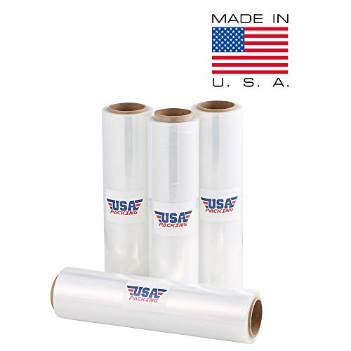 USA PACKING (R) Stretch Wrap Film Shrink Wrap - 16 Inch x 1476 Feet - 4.5 Lbs per Roll. Made in USA with Virgin Material. Heavy Duty & Industrial Strength. Shrink Wrap for Moving Furniture Pallet.