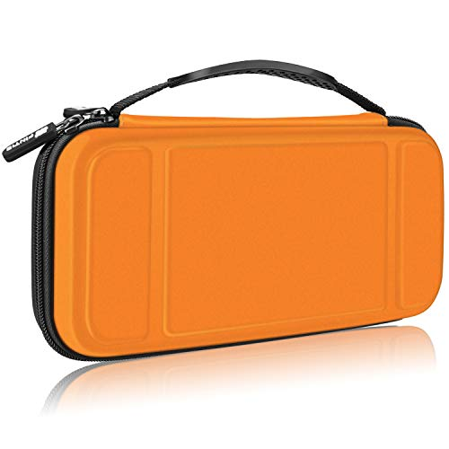 Fintie Carry Case for Nintendo Switch - [Shockproof] Hard Shell Protective Cover Portable Travel Bag w/10 Game Card Slots and Inner Pocket for Nintendo Switch Console Joy-Con & Accessories, Orange from Fintie