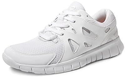 TSLA Men's Lightweight Sports Running Shoes, Flex Mesh(x700) - White, 7.5,