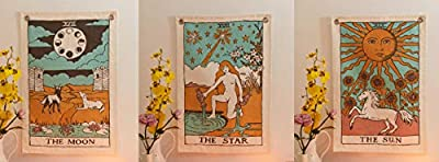 Tarot Flag Tapestry - Bohemian Cotton Printed Hand Made Wall Hanging Tapestries with Steel Grommets, Beige