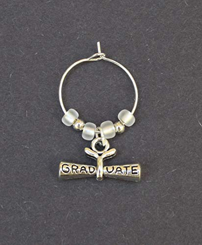 Graduation Party Favors-Wine Charms-DIPLOMA-Set of 10-Custom Colors Available