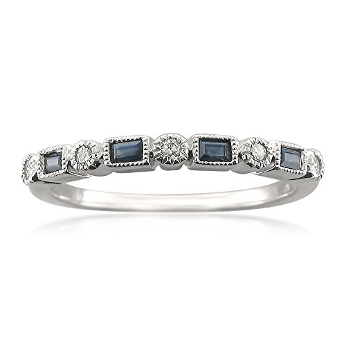 14k White Gold Round & Baguette Diamond & Blue Sapphire Bridal Wedding Band Ring (1/4 cttw, I-J, SI2-I1)