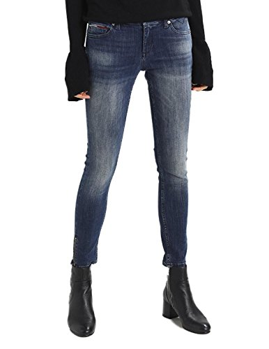 Tommy Jeans Vaquero Mujer Mid Rise Skinny Nora 7/8 Azul