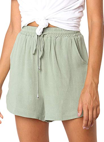 Cotton Lightweight Shorts - Dokotoo Womens Casual Plus Size Ladies Solid Drawstring Solid Elastic Waist Comfy Lounge Cotton Linen Shorts Summer Plain Beach Linen Shorts Pockets Green XX-Large