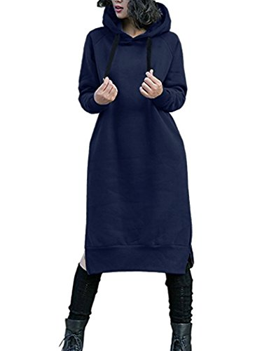 NUTEXROL Women's Thickening Long Fleece Sweatshirt String Hoodie Dress Pullover Plus Size,Navy,Large