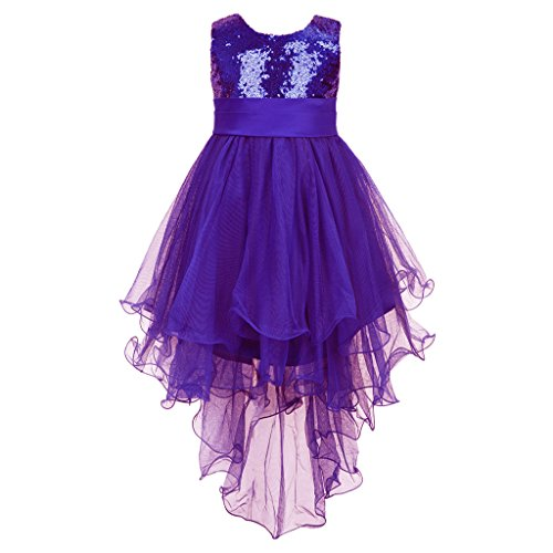[Colorful House Girls' Sequined Trailing Formal Wedding Bridesmaid Party Dress Purple, L(6) (Size] (Fairy Dress For Kids)