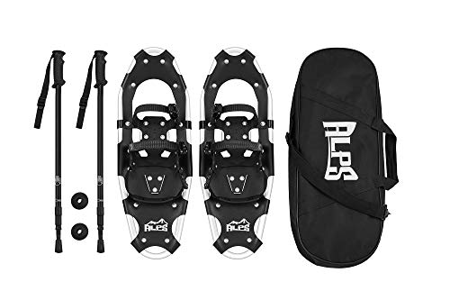 Alps All Terrian Snowshoes 25' + pair antishock adjustable snowshoeing pole (black) + free carrying...
