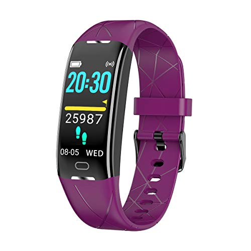 iGANK Fitness Tracker with Heart Rate Monitor,Sports Calorie Burn Tracker IP68 Waterproof Pedometer Watch with Sleep Tracker for Kids Women and Men (Purple)