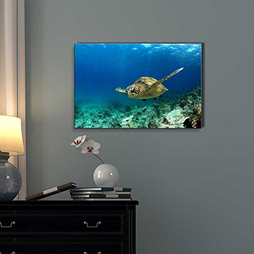Green Sea Turtle in Deep Ocean Sea Wall Decor