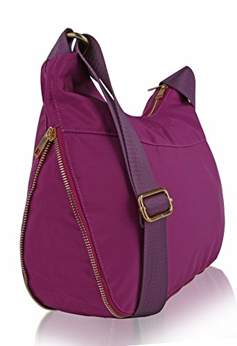 RFID Travel Suvelle Pocket Blocking Viola Handbag Expandable Shoulder Lightweight Crossbody BA20 Bag Hobo Multi UxxZBpt