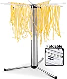 Gourmia GPD9355 Pasta Drying Rack - Eight Detachable Rotating Arms, Collapsible and Foldable - Includes Noodle and Spaghetti Transporting Wand, Anti Slip Silicone