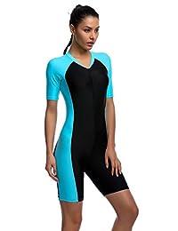 YEESAM Surfing Suit Women Men Short Sleeve One Piece Modest Swimwear