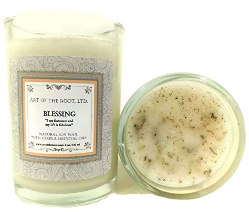 Art of the Root Blessing Affirmation Candle: 8 oz Natural Soy with Herbs & Essential Oils for Prosperity, Peace, Good Fortune, Well-Being & Spirituality for Wiccan, Pagan & Magick Rituals