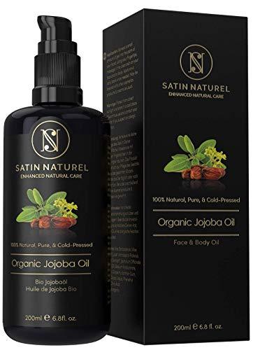 BIO Jojobaöl Vegan + Kaltgepresst - 200 ml in Lichtschutz Glasflasche - 100% Rein, Natürlich & Nativ - Feuchtigkeitspflege Haut Gesicht Haare & Nägel - SatinNaturel Naturkosmetik