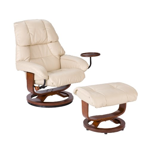 Bonded Leather Recliner and Ottoman - Taupe (Taupe Recliner Rocker)