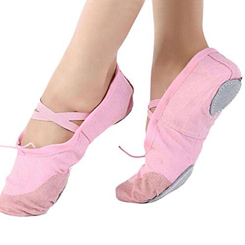 Transer® Mädchen Weich Ballerinas Leinwand Ballett Tanz Gymnastik Tanzschuhe Rosa