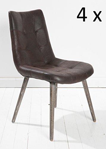 4x Esszimmerstuhl Stuhl Leder Braun mit Holzbeinen Echtleder Esszimmersessel Designstuhl Loungesessel Sessel Retro Look Esszimmerstühle Stuhl Set