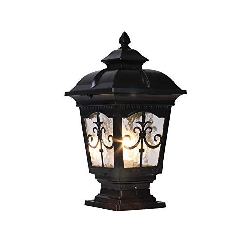 Rishx European Villa Garden Wall Column Light Lantern Vintage Rainproof Aluminum Landscape Pillar Lamp Outdoor Safe E27 LED Patio Post Lighting Fixture for Villa Doorway Balcony (Color : Black)