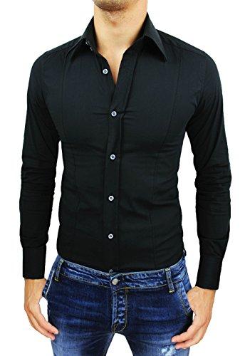 Camicia uomo Slim fit nero super aderente nuova casual elegante in cotone