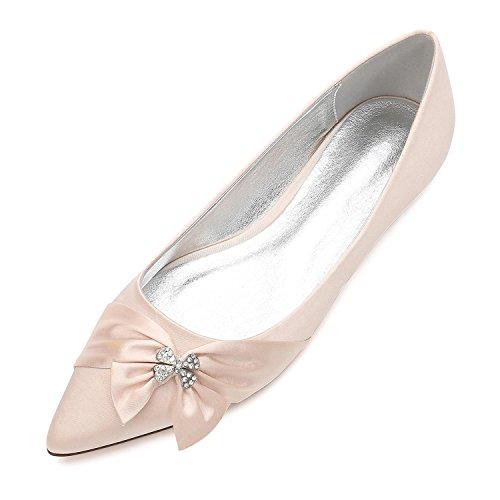 L@YC Damen-Hochzeits-Schuhe 5047-23 Bowknot-Komfort-Frühlings-Sommer-Satin-Hochzeits-Kleid Partei-u. Abend-Satin-Blumen-Flache Ferse Champagne