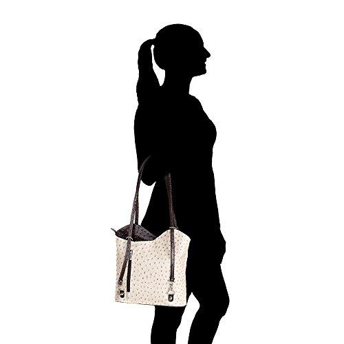 en bandoulière 28x30x9 Italie Taupe véritable cuir femme en à Chicca Fabriqué Sac foncé Brun Borse Cm d'autruche Modèle Xgxn1RCpwq