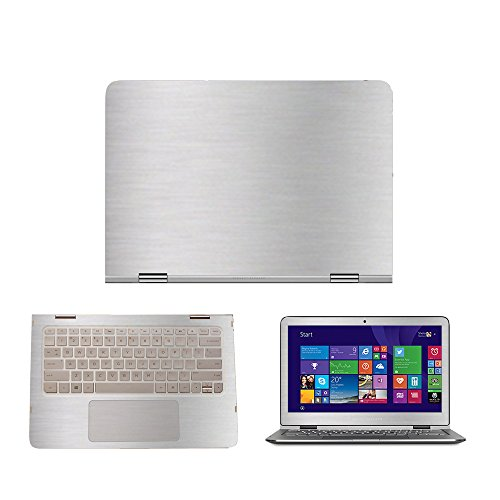 Silver Brushed Aluminum skin decal wrap skin case for HP Spectre x360 13.3 Laptop