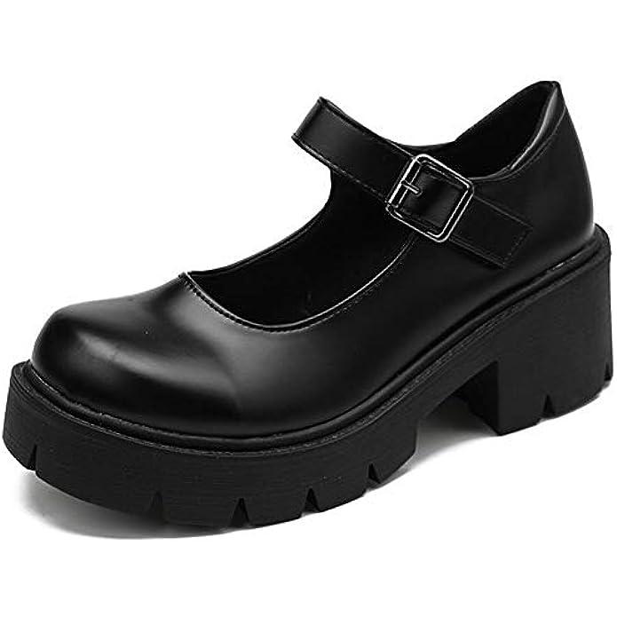 AOSPHIRAYLIAN Womens Gothic Lolita Shoes Platform Mary Janes Ankle Strap Chunky Heel Uniform Dress Pumps Shoes Black