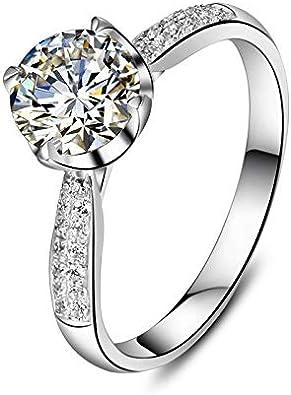 BQZB Anillo Joyería Elegante de Plata esterlina para Mujer Corazones y Flechas Anillo de 4 Puntas Anillo de Diamantes sintéticos de Color Oro Blanco NSCD
