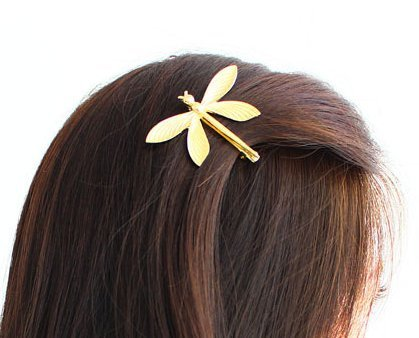 (Cuhair 1pc Mothers Day gift party Wedding Princess Gold Metal Dragonfly Hair Clip Hair Pin Accessories for Women)