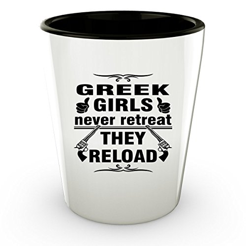 GREECE GREEK Shot Glass - Good Gifts for Girls - Unique Coffee Cup - Never Retreat They Reload - Decor Decal Souvenirs Memorabilia (Greek Philosopher Costume)