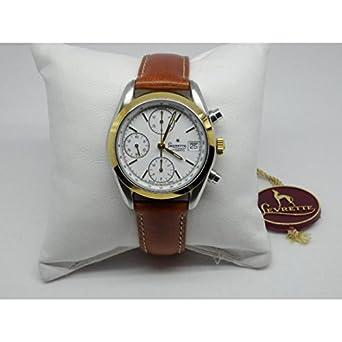Uhr Levrette Herren 7002 – 22 Schalter Stahl Quandrante weiß Armband Leder